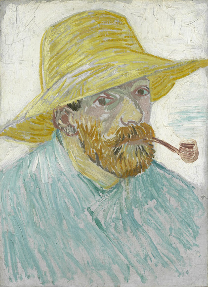 self portrait with pipe and straw hat van gogh museum